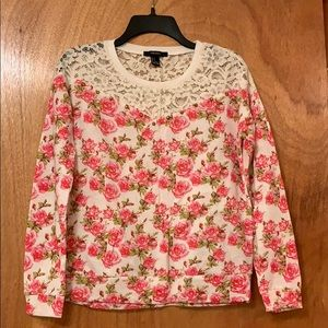 Forever 21 Lace and Studs Floral Sweatshirt